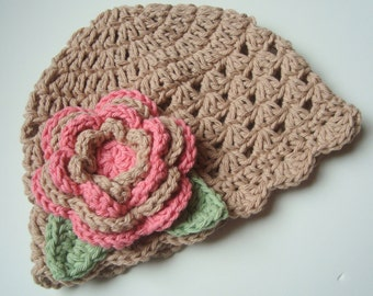 Baby girl Hat, Toddler Crochet Hat, Summer Hat, Winter Hat, Cotton Beanie Hat , Baby to Girls, Tan, Rose Pink, Sage Green, MADE TO ORDER