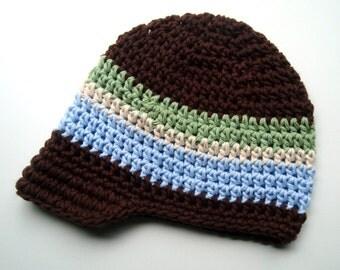 Boys Crochet Hat, Infant Boy Crochet Beanie, Boys Visor Hat, Brown, Sage Green, Ecru, Light Blue, MADE TO ORDER