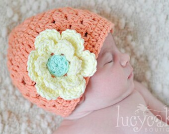 Baby Girl Hat, Crochet Baby Hat, Summer Hat, Winter Hat, Infant Hat, Newborn Hat, Cotton Crochet Beanie Hat, Citrus Sherbet, TO ORDER
