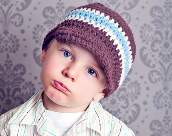 Baby Boy Crochet Hat, Toddler Boy Hat, Boys Visor Hat, Boys Crochet Hat, Crochet Visor Hat, Boys Winter Hat, Boys Summer Hat, MADE TO ORDER