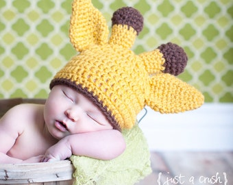 Baby Giraffe Hat, Baby Girl Hat, Baby Boy Hat, Infant Hat, Crochet Giraffe Hat, Baby Animal Hat, Giraffe Hat, 0-3 months, MADE TO ORDER