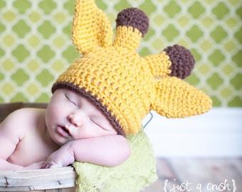 Baby Giraffe Hat, Newborn Giraffe Hat, Baby Girl Giraffe Hat, Baby Boy Hat, Gold, Brown, Crochet Giraffe Hat, MADE TO ORDER