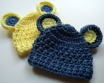 Set of Two Crochet Baby Hats with Ears, Animal Hat, Baby Girl Hat, Baby Boy Hat, Newborn, 0-3 months, Yellow and Country Blue, MADE TO ORDER