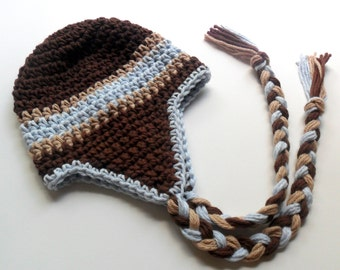 Boys Crochet Hat, Baby Boy Hat. Toddler Hat, Boys Crochet Earflap Beanie Hat with Ties, Custom Made in Your Color choice, MADE TO ORDER