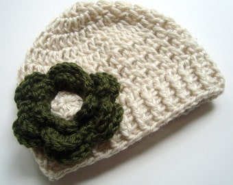 Baby Girl Hat, Crochet Baby Hat, Crochet Toddler Hat, Infant Winter Hat, Beanie Hat, Girls Hat with Flower, Green, Beige, MADE TO ORDER