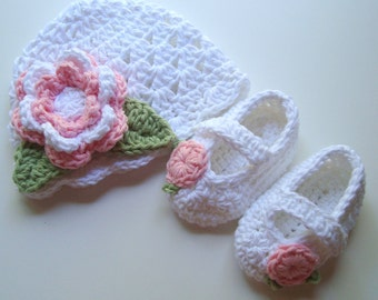 Crochet Baby Hat and Booties Set, Infant Hat and Mary Jane Booties,  Cotton Hat and Booties,  Baby Shower Gift,  Baptism,  Baby Hat, Booties