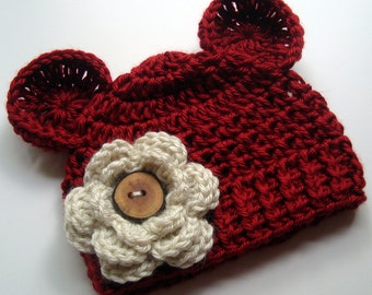 Baby Girl Hat, Baby Hat, Infant Winter Hat, Crochet Hat with Ears, Newborn Crochet Hat, Infant Winter Hat, Red, Oatmeal, MADE TO ORDER