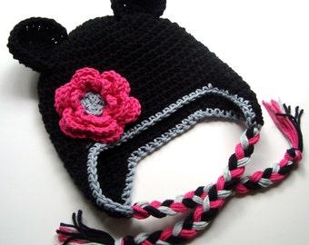 Baby Girl Hat, Crochet Earflap Hat, Girls Ear Flap Hat, Toddler Crochet Hat, Girls Crochet Hat, Hat with Ties, Winter Hat, MADE TO ORDER