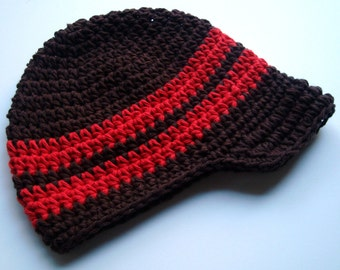 Boys Crochet Hat, Boys Visor Hat, Baby Boy Hat, Toddler Boys Hat, Boys Hat, Crochet Visor Beanie Hat, Chocolate Brown, Red, MADE TO ORDER