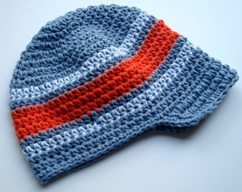 Boys Crochet Hat, Baby Boy Hat, Boys Summer Hat, Boys Winter Hat, Crochet Visor Hat, MADE TO ORDER, Slate Blue, Light Blue, Orange