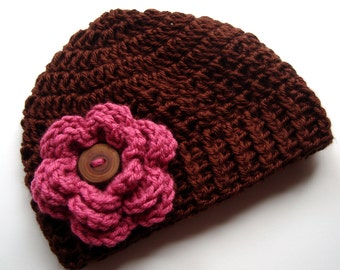 Baby Girl Hat, Girls Crochet Hat, Crochet Baby Beanie Hat,  Baby Hat With Flower and  Wooden Button,  Brown and Raspberry, MADE TO ORDER