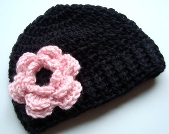 Crochet Baby Hat,  Girls Beanie Hat With Flower, Baby Girl Hat, Girls Winter Hat, Baby Beanie Hat, Winter Hat, Black and Pink, MADE TO ORDER