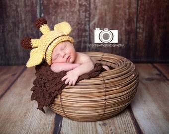 Baby Giraffe Hat, Hand Crocheted Infant Giraffe Beanie Hat, MADE TO ORDER, Size Newborn to 3 months 0-3 Months