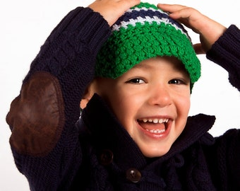 Crochet Visor Beanie, Boys Crochet Visor Beanie, Kelly Green, light Blue and Navy Blue, Crochet Baby Hat, Baby Boy Hat,MADE TO ORDER