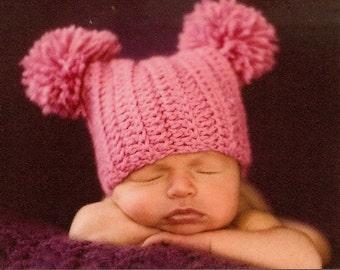 Crochet Baby Hat, Infant Pom Pom Crochet Hat, Baby Sack Hat,  Jester Hat, Baby Girl Hat, Infant Winter Hat, MADE TO ORDER