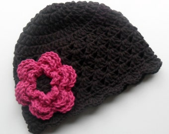 Crochet Baby Hat,  Baby Girl Hat, Toddler Crochet Hat, Baby Girl, Crochet Hat, Toddler Winter Hat, Brown and Pink, Newborn Hat MADE TO ORDER