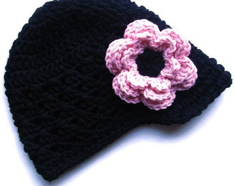 Baby Girl Hat, Crochet Baby Hat, Girls Crochet Visor Beanie Hat, Crochet Hat with Brim, Winter Hat, Black, Pastel Pink, MADE TO ORDER