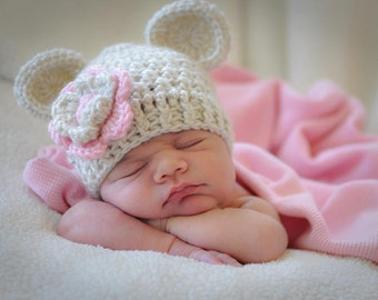 Crochet Baby Hat, Baby Girl Crochet Hat with Ears, Beige and Light Pink, Baby Girl Hat, Crochet Hat, 0-3, 3-6 or 6-12 months, MADE TO ORDER