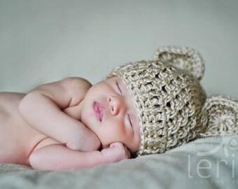 Crochet Baby Bear Hat, Beanie Hat, Crochet Hat with Ears,  Baby Girl Hat, Baby Boy Hat,  Baby Hat with Ears, Newborn Hat, Tan, MADE TO ORDER