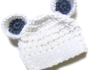 Baby Hat, Baby Boy Hat, Crochet Baby Hat with Ears,  Infant Beanie Hat with Ears, White and Country Blue, Newborn Boy Hat, MADE TO ORDER