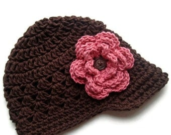 Baby Girl Hat, Crochet Baby Hat, Crochet Girls Hat, Crochet Visor, Hat, Visor Hat, Toddler, Chocolate Brown and Rose Pink, MADE TO ORDER