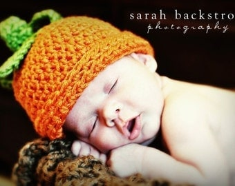Baby Pumpkin Hat, Baby Boy Hat, Baby Girl Hat, Infant Pumpkin Hat,  Crochet Pumpkin Beanie Hat, Newborn or 0-3 months, MADE TO ORDER