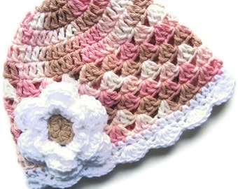 Baby Girl Hat, Crochet Summer Hat, Baby Hat, Neopolitan Hand Crocheted Baby Girl Cotton Crochet Scalloped Beanie Hat,  MADE TO ORDER