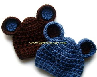 Crochet baby Hats, Hats with Ears, Set of two,  Baby Boy Hat, Baby Girl Hat, 0-3 months , Chocolate Brown and Country Blue, MADE TO ORDER