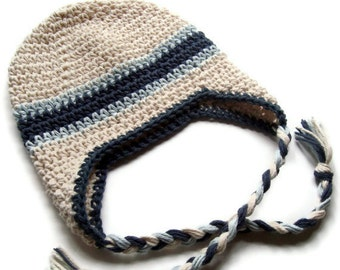 Boys Crochet Hat, Baby Boy Hat, Boys Winter Hat, Earflap Beanie Hat with Ties, Custom Made in Your Color Choices, MADE TO ORDER