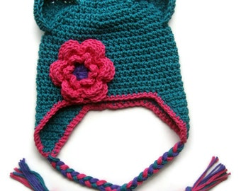 Girls Cotton Crochet Ear Flap Beanie Hat with Ears and Ties, Baby Girl Hat, Toddler Crochet Hat, Made in Your Color Choices, MADE TO ORDER