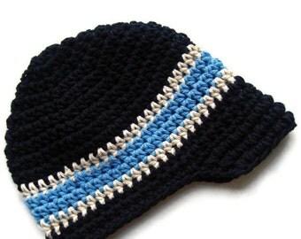 Baby Boy hat, Boys Crochet Hat, Boys Visor Hat, Toddler Crochet Hat, Boys Winter Hat, Boys Summer Hat, Black, Ecru, Blue, MADE TO ORDER