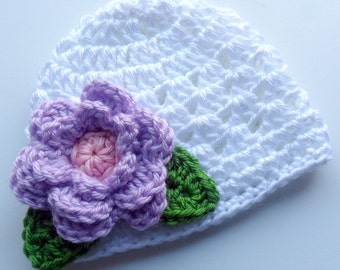 Crochet baby Hat, Baby Girl Hat. Baby Girl Beanie Hat with Flower, Girls Crochet Hat, Winter Hat, White, Lavender, Green, MADE TO ORDER