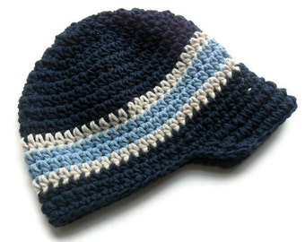 Crochet Visor Beanie, Boys Crochet Visor Beanie, Navy Blue, Ecru and Light Blue, MADE TO ORDER