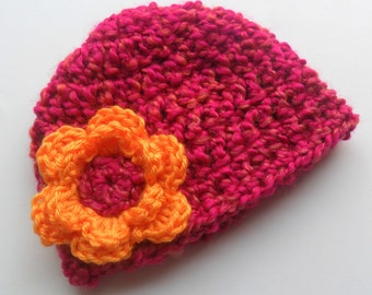 Crochet Baby Hat, Baby Girl Beanie Hat, Chunky Beanie Hat with Flower, Magenta Pink and Mango, 0-3 Months, Newborn girl hat,  MADE TO ORDER