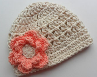 Baby Girl Hat, Crochet Summer Hat, Cotton Hat, Crochet Baby Hat, Girls Cotton Beanie Hat, Ecru and Coral, MADE TO ORDER