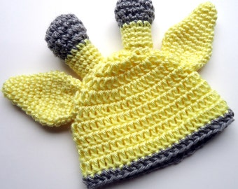 Crochet Giraffe Hat,  Infant Giraffe Beanie Hat, MADE TO ORDER, Gray and Light Yellow, Size Newborn to 3 months 0-3 Months