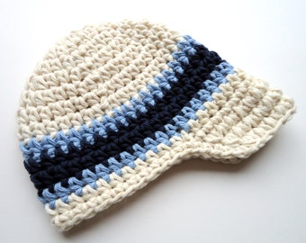 Boys Hat, Baby Boy Hat, Crochet Visor Beanie, Boys Crochet Visor Beanie, Boys Crochet Hat, Ecru, Light Blue, Navy Blue, MADE TO ORDER