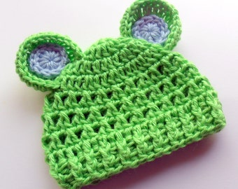 Crochet Baby Hat with Ears,  Infant Beanie Hat with Ears, Baby Girl Hat, Baby Boy Hat, Winter Hat, Lime Green and Baby Blue, MADE TO ORDER