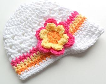 Baby Girl Crochet Hat, Crochet Girls Visor Beanie, Crochet Baby Hat, Girls Summer Hat, White, Hot Pink, Yellow, Orange, MADE TO ORDER