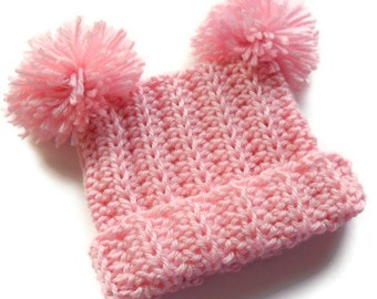 Crochet Toddler Hat,  Pom Pom Crochet Hat,  Toddler Crochet Hat, Infant Winter Hat, MADE TO ORDER in your color and size, 12-24 m, 2-4T, 5T