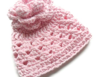 Crochet Baby Hat, Baby Girl Hat, Crochet Baby Girl Hat, Infant Cotton Hat with Flower Pom Pom, Pastel Pink, 0-3 Moths, MADE TO ORDER