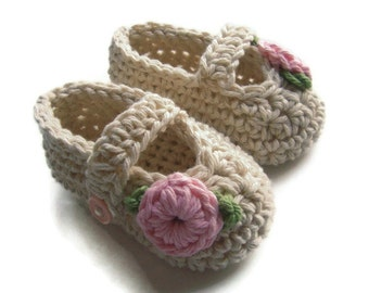 Crochet Baby Mary Jane Booties,  Crochet Baby Booties, Mary Jane Booties, Baby Girl Booties,  Infant Booties with Flower, MADE TO ORDER