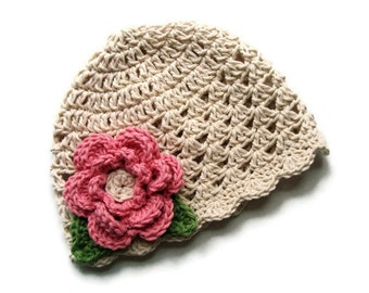 Crochet baby Hat with Flower, Girls Crochet Summer Hat, Ecru with rose flower, sage green,  Crochet Hat, Toddler Girl Hat, MADE TO ORDER