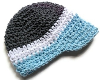 Baby Boy Hat, Crochet Baby Boy Visor Hat, Newborn Crochet Visor Beanie, Boys Crochet Hat, Summer Hat, Winter Hat, Charcoal, White, Sky Blue