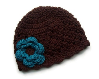 Baby Hat, Crochet Baby Hat, Baby Girl Crochet Hat with Flower, Toddler Girls Hat, Baby Girl Hat, Flower Hat, MADE TO ORDER, Brown, Turquoise