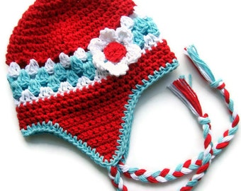 Crochet Baby Hat, Baby Girl Hat, Toddler Crochet Hat, Ski Hat, Girls Hat, Girl Crochet Hat with Ties, Ear Flap Hat, Custom MADE TO ORDER