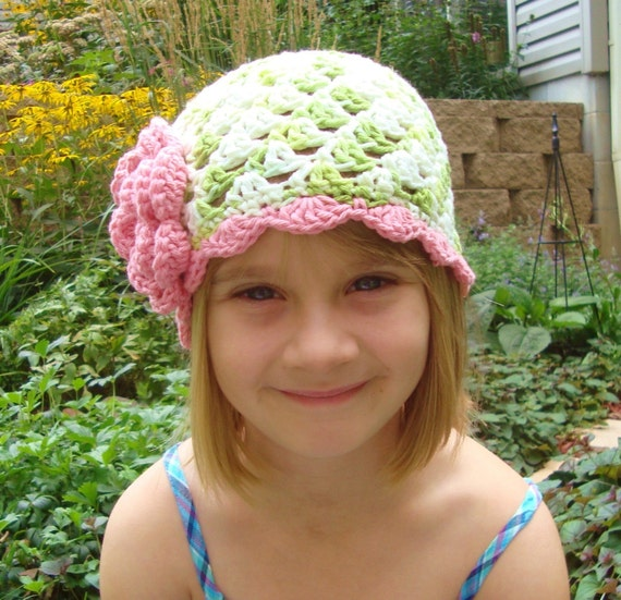 Crochet Hat, Crochet baby Hat, Crochet Toddler Beanie Hat, Lime Green, White, Rose Pink, MADE TO ORDER