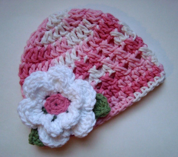 Girls Crochet Hat, Baby Girl Hat, Toddler Crochet Hat, Infant Hat, Summer Hat, Winter Hat, Pink and White Baby Hat, MADE TO ORDER
