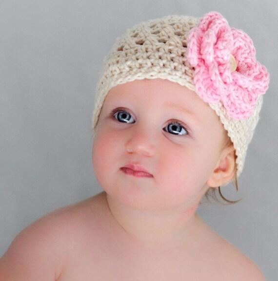 Crochet Baby Girl Hat, Toddler Crochet Hat, Girls Crochet Beanie Hat, Summer Hat, Winter Hat, Baby Girl Hat, Cream and Pink, MADE TO ORDER