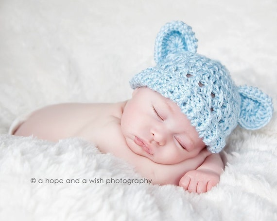Baby Boy Hat, Light Blue Baby Hat, Animal Hat, Infant Winter hat with Ears, Baby Hat with Teddy Bear Ears,  0-3 months, MADE TO ORDER